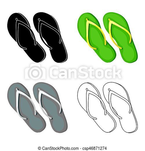 d4dd5b8c14b3 Green flip-flops icon in cartoon style isolated on white background. Brazil  country symbol