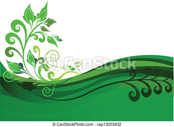 Green floral background design - csp13203432