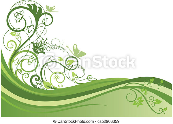 Green floral border design 1 - csp2906359