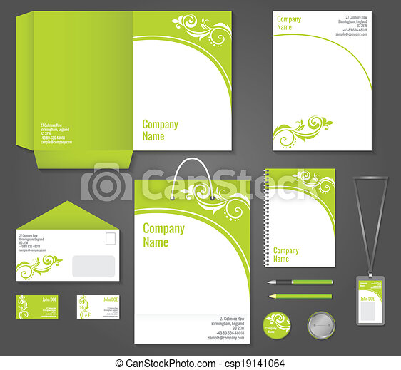 Green floral business stationery template green floral wavy green floral business stationery template csp19141064 cheaphphosting Gallery