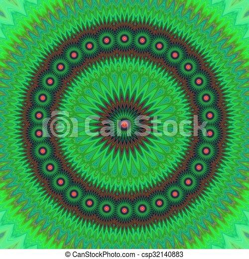 Green floral fractal mandala design background - csp32140883