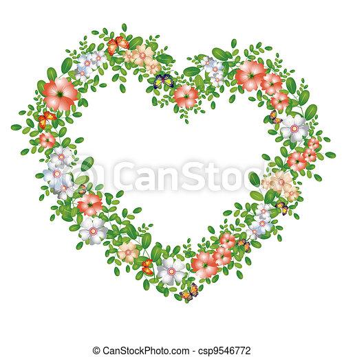 Green floral heart - csp9546772