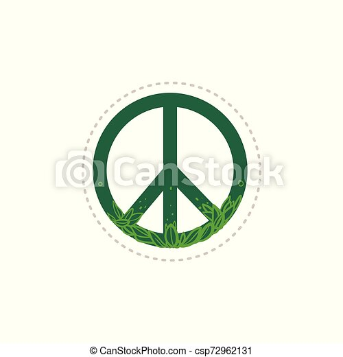 Green floral peace sign with hand drawn plant leaves - csp72962131