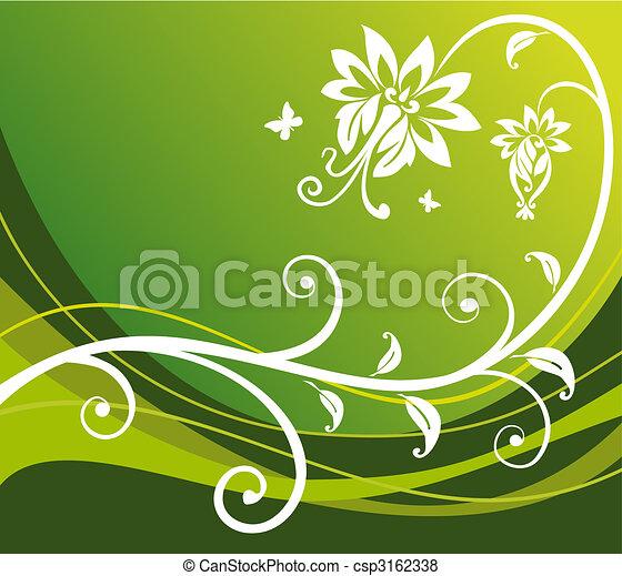 Green flower background - csp3162338