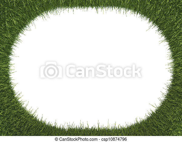 Green fresh grass rounded frame: ecology and environment - csp10874796