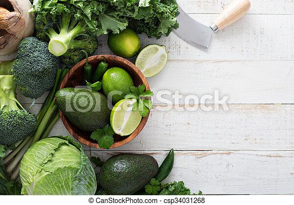 Green fresh produce copy space - csp34031268