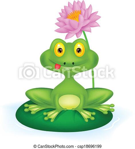 Green frog cartoon sitting on a lea - csp18696199