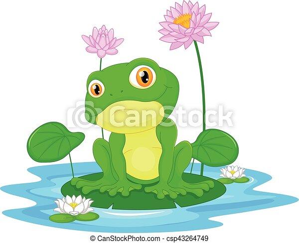 Green frog sitting on a leaf - csp43264749