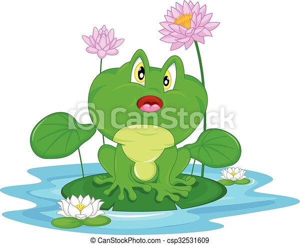 Green frog sitting on a leaf - csp32531609