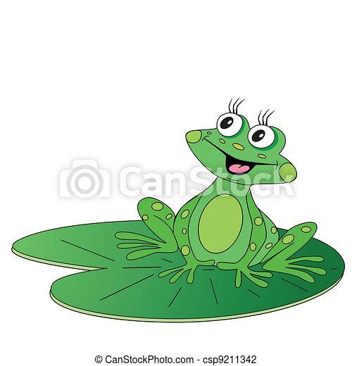 green frog sitting on green leaf - csp9211342
