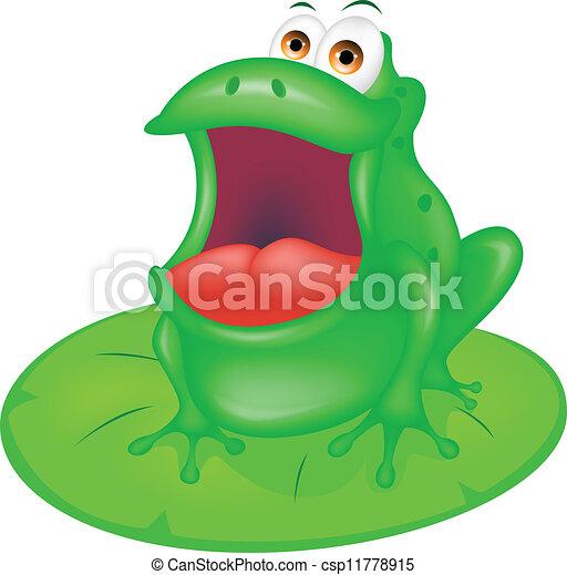 green frog sitting on green leaf - csp11778915