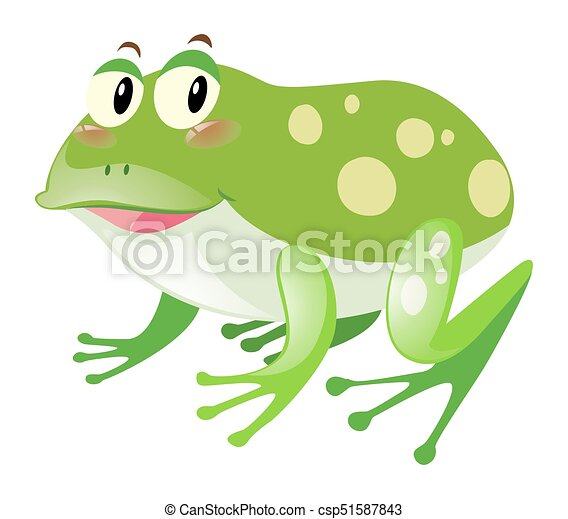 Green frog with happy face - csp51587843