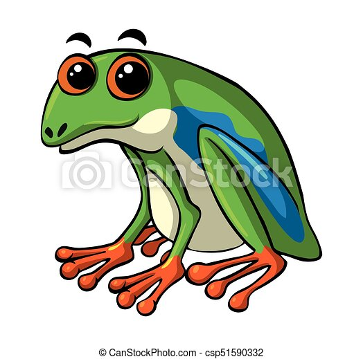 Green frog with happy face - csp51590332