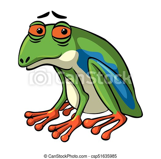 Green frog with sad face - csp51635985