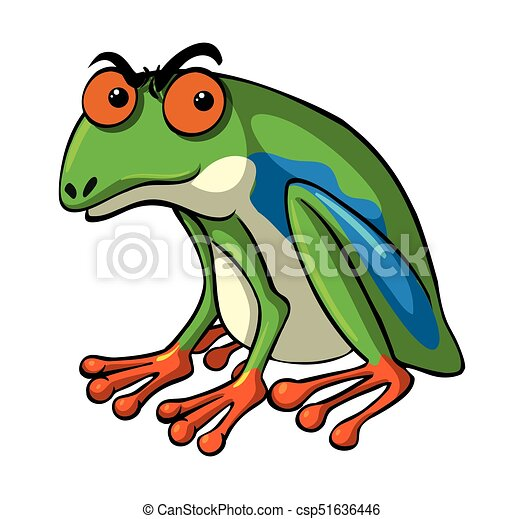 Green frog with serious face - csp51636446