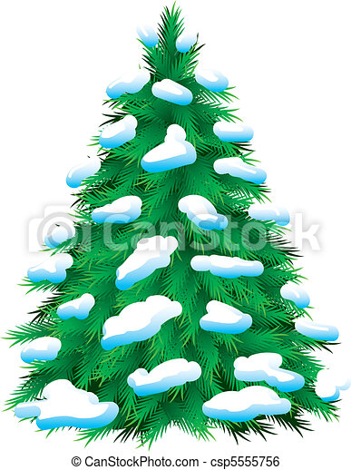 Green fur-tree covered with snow - csp5555756