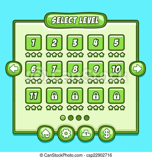 green game level select icons buttons game game menu