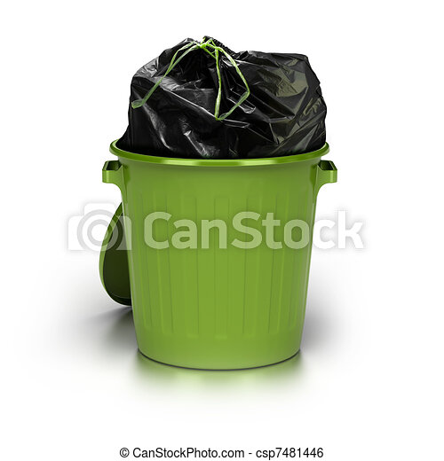 green garbage can over a white background with a plastic closed bag inside - studio shot plus 3d trash - csp7481446