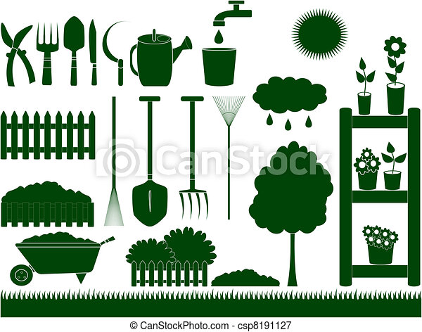 Green Garden Tools Isolated   Csp8191127