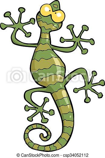 cartoon doodle green gecko lizard vector illustration vector clip