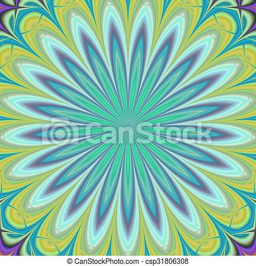 Green geometric floral fractal design background - csp31806308