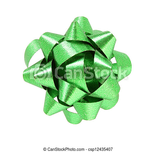 green gift bow isolated on white background - csp12435407