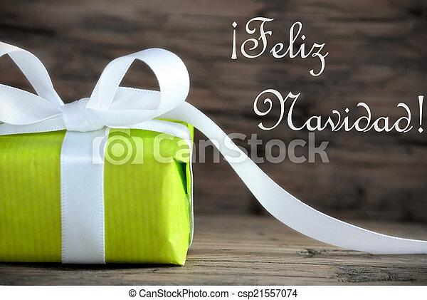 Green Gift with Feliz Navidad - csp21557074