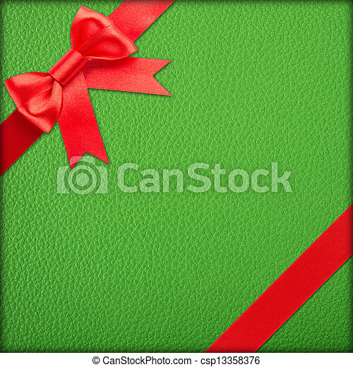 Green gift with red bow - csp13358376