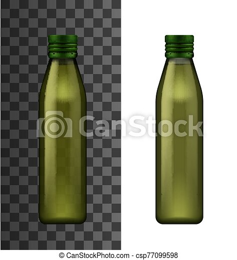 Green glass bottle, olive oil realistic 3d mockup - csp77099598