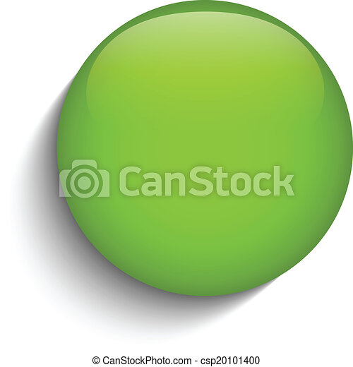 Green Glass Circle Button on White Background - csp20101400