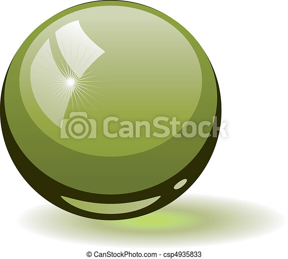 Green glass sphere - csp4935833