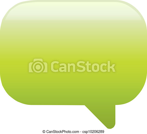 Green glassy empty speech bubble web button icon - csp10206289