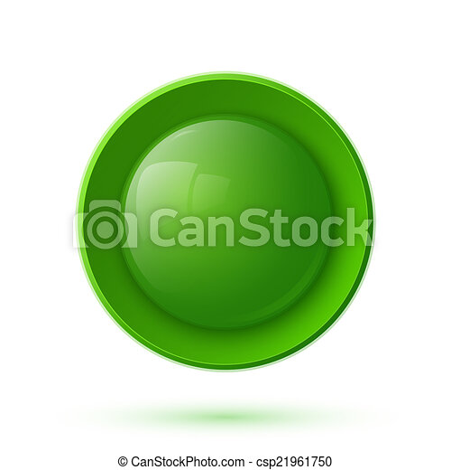 Green glossy button icon - csp21961750