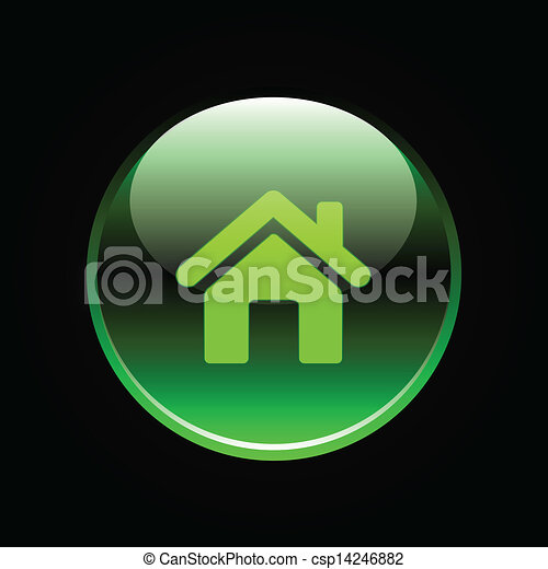 Green glossy home button - csp14246882