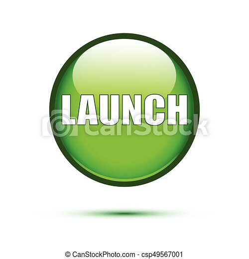 Green glossy Launch button on white - csp49567001