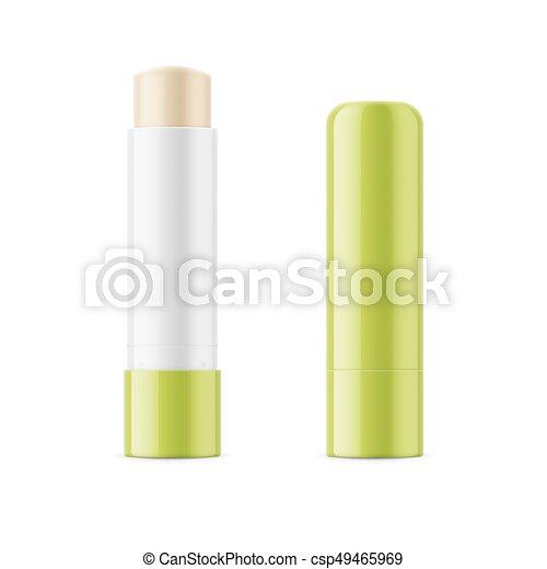 Green glossy lip balm stick