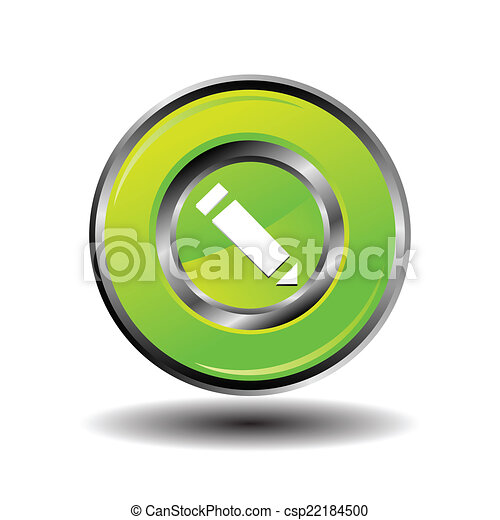 Green glossy pencil icon vector - csp22184500