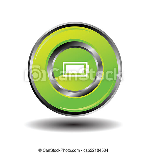 Green glossy round button Battery - csp22184504