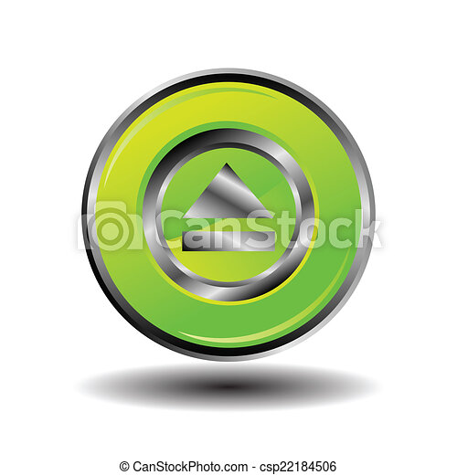 Green glossy round button web eject - csp22184506