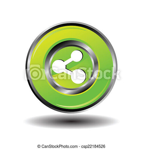 Green Glossy Share button vector - csp22184526
