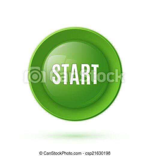 Green glossy start button icon - csp21630198
