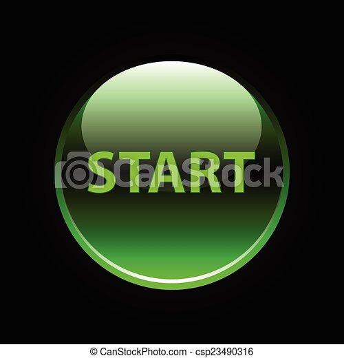 Green glossy start button on black - csp23490316