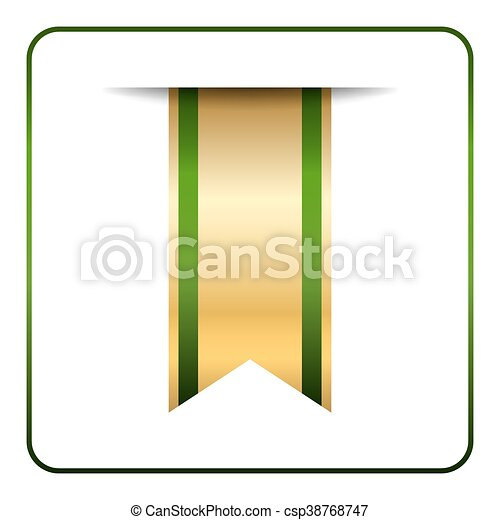 Green gold bookmark isolated - csp38768747