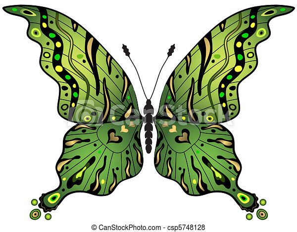 Green Gold Butterfly Green And Gold Decorative Butterfly Isolated