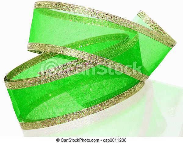 Green & Gold Ribbon - csp0011206