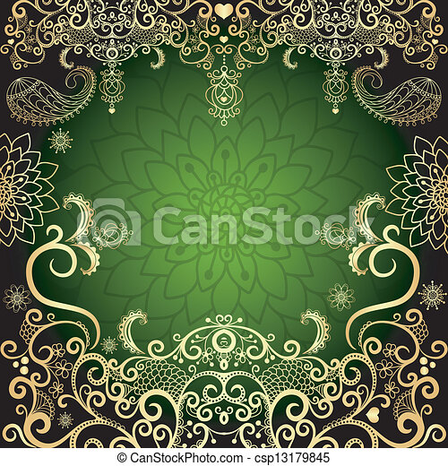 Green Gold Vintage Floral Frame Green And Gold Luxurious Filigree