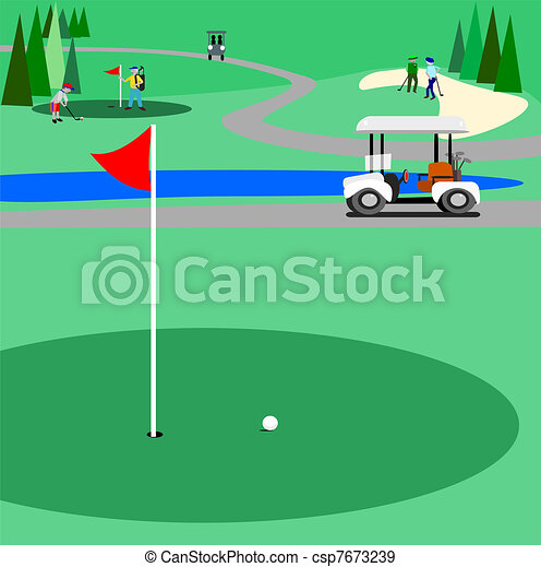 green golf course illustration of a golf course with people eps rh canstockphoto com golf club clipart images golf club clipart