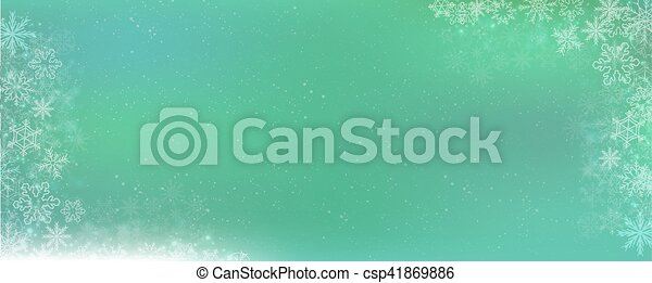 Green gradient winter banner background with snowflake border - csp41869886