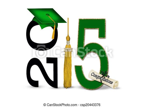 green graduation cap for 2015 - csp20443376
