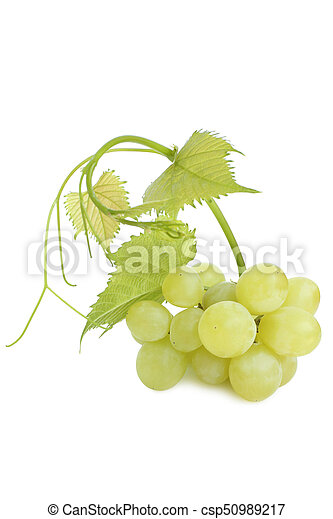 Green grapes with leaves - csp50989217